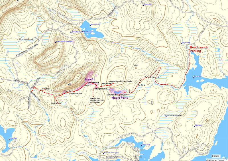 Rock Climbing Photo: Area 51 - Magic Pond overview map