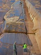 Rock Climbing Photo: Hayden cleaning up the anchor. Planet Kauffman mil...