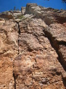 Rock Climbing Photo: Looking up the route with the anchors in the shade...
