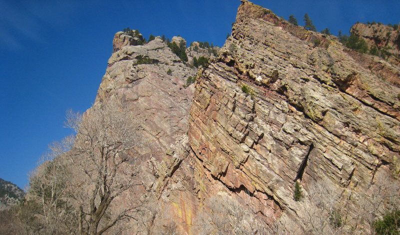 Rock Climbing Photo: Orange climber 20 feet out from the belay.