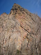 Rock Climbing Photo:  Unknown climber in between the trees wearing oran...