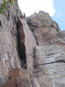"Rock Climbing Photo: Mark Machacek on second pitch of ""Danger High..."