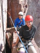 Rock Climbing Photo: Mark and Laura Machacek at the first belay ledge o...