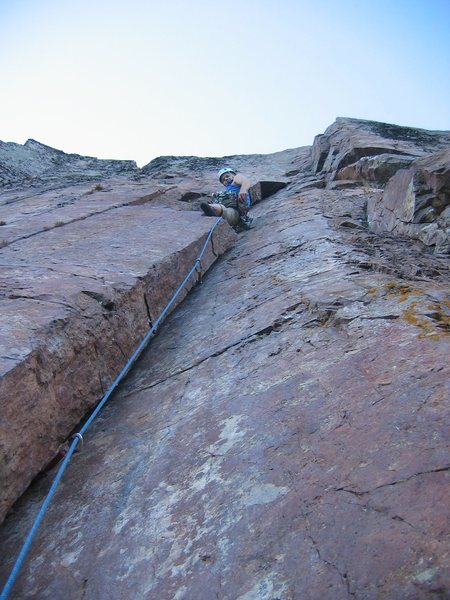 Matt Johnson on &quot;Urge to Mate&quot; at Palisade Head, MN.<br> Photo by: Mark Machacek