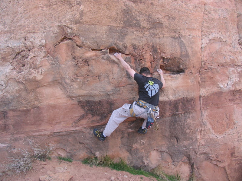 Boulder problem at the bottom of the third pitch.<br> <br> The Long Wait, V0-.