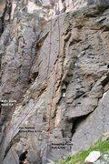 Rock Climbing Photo: Triple Play Cliff - Center Topo