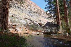 Rock Climbing Photo: Lower Rock Creek Wall from the shady creek below