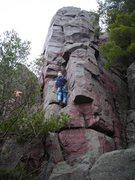 "Rock Climbing Photo: Doug Hemken leading ""Angel's Crack"" Apri..."