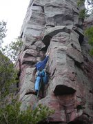 Rock Climbing Photo: A headless Doug Hemken stemming to the heavens on ...