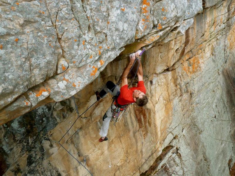 Rock Climbing Photo: Bryan on the roof, Otter Limits, Jamestown, AL.