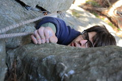 Rock Climbing Photo: Chris McElroy finishing up the 5.7 dihedral