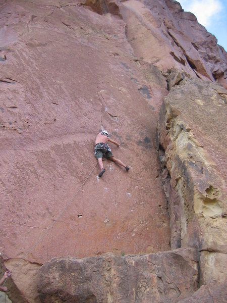 Matt Johnson on &quot;Ride the Lightning&quot; at Smith Rock, OR.<br> Photo by: Stephanie Hong