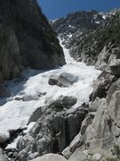 Rock Climbing Photo: The start of the snow tongue, just above the massi...
