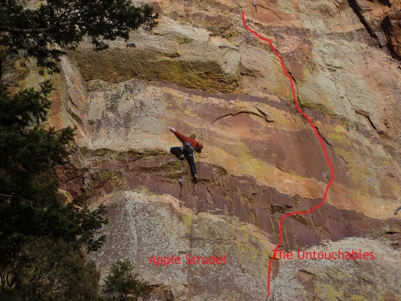 Climber on Apple Strudel. The first pitch of Untouchables is the red line on the right.
