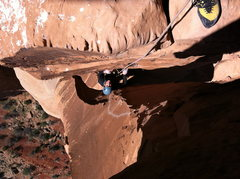 Rock Climbing Photo: Mike coming up the p4 chimney.