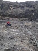 Rock Climbing Photo: Nick leading pitch 1.