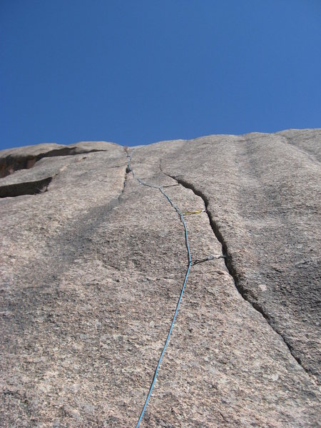 Rock Climbing Photo: The route with a rope and gear following it.