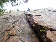 Rock Climbing Photo: In the thin crack near the top.  This is the end o...