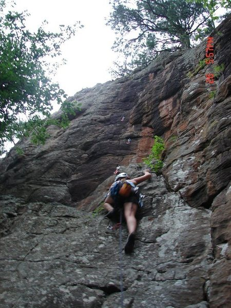 Rock Climbing Photo: Rachelle gaining the ledge on El Chupacabra.  Summ...