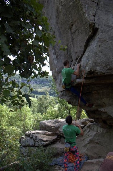 Rock Climbing Photo: Paul on the awkward start during Horseshoe Hell 20...