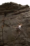 Rock Climbing Photo: Reecie half-way up The Lookout.  Shares anchors wi...