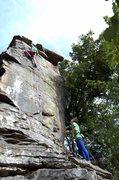 Rock Climbing Photo: Jerad at the anchors of Cracked Rib.