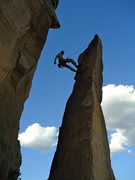 Rock Climbing Photo: Lowering off after my first lead in Colorado.
