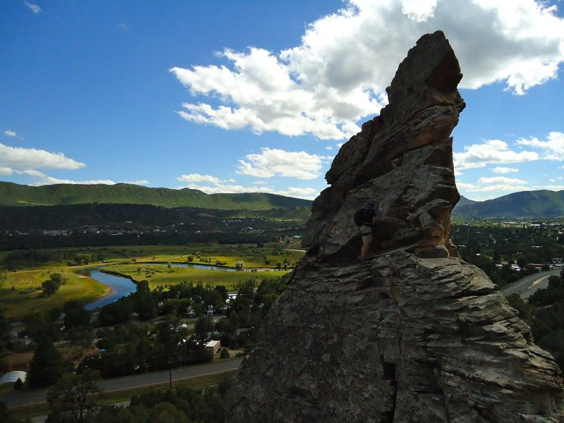 The X Pinnacle and the surrounding Animas River Valley.