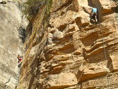 Rock Climbing Photo: The route nearing the awkward mantle, I Need A Sho...