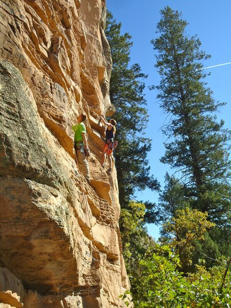 Odale', Dune, and then Enter Sandman from left to right. Some of the best sport routes in town!