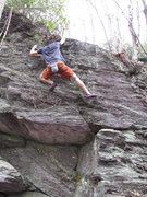 "Rock Climbing Photo: More on the John Henry wall. This is me on ""W..."