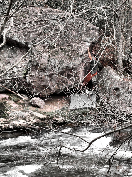 Bouldering on the Mayfly Boulder. Photo takin from across the creek while on the trail...