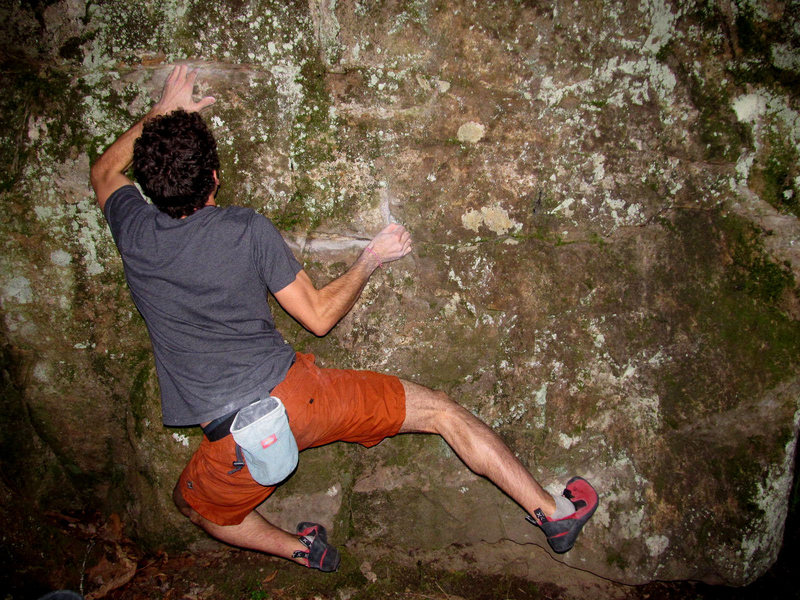 "Aaron James Parlier on ""Jeepers Creeper"" (V4/5) on the Virginia Creeper Boulder"