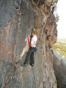Rock Climbing Photo: Tim clips the anchors.  You can see in the backgro...