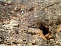 Rock Climbing Photo: Small cluster of chossy routes on the right side u...