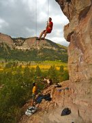 Rock Climbing Photo: Josh lowers off Greenskeeper's Playground during a...