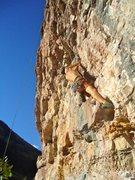 Rock Climbing Photo: Seconding an enjoyable warmup on this STEEP wall.