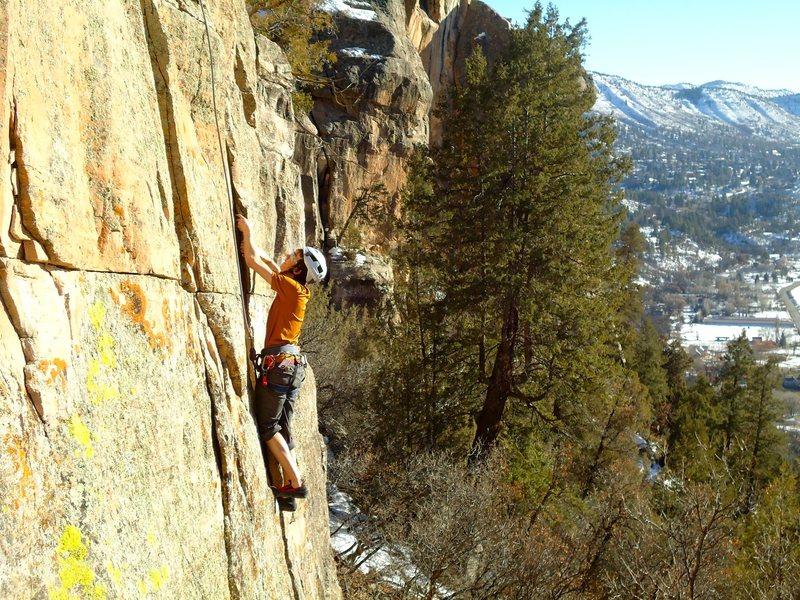 Rock Climbing Photo: Dan stands atop the fun handcrack section on a sun...
