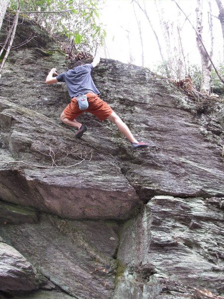 "Aaron James Parlier on the John Henry Wall, climbing on ""Man With A Hammer In His Hand"" (V0/1)"