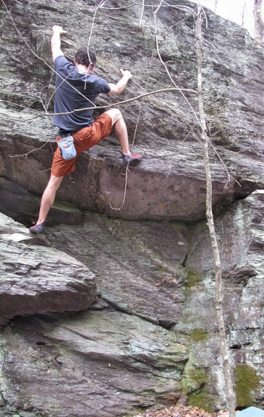 Aaron James Parlier on the John Henry Wall, climbing on &quot;Man With A Hammer In His Hand&quot; (V0/1)<br> <br>
