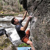 "Aaron Parlier climbing ""Pale Morning Dun (Standstart)""(v3) on the Mayfly Boulder"