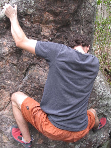 "Aaron Parlier climbing ""Pale Morning Dun (Stand)""(v3) on the Mayfly Boulder"