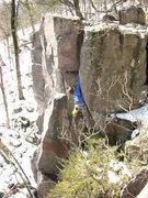 Rock Climbing Photo: Rhoads getting into the jams.