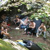 Gaggle of UMD alumni enjoying Sawmill bouldering.<br> Photo by: Matt Johnson
