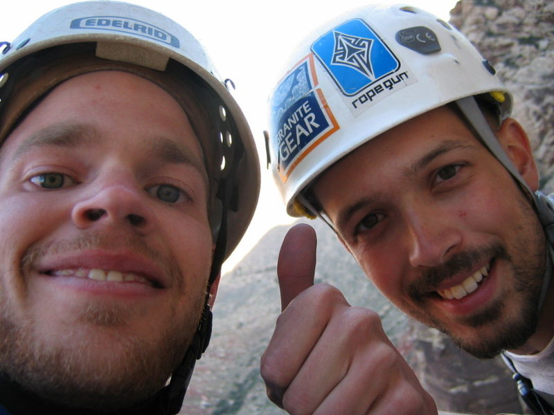 """Nick and myself from the top of """"Prince of Darkness"""". My first multipitch."""