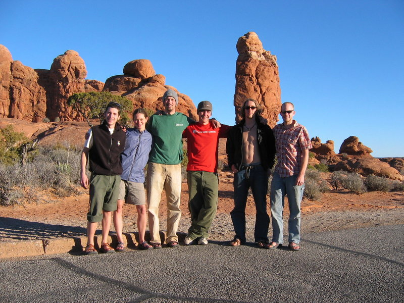 "Springbreak 2004 group in front of ""Owl Rock""."