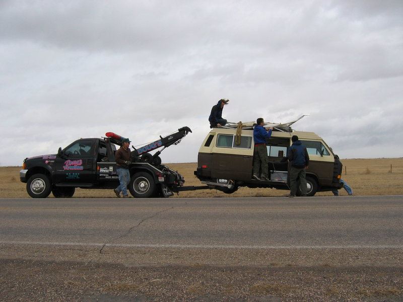 Rock Climbing Photo: Stuart Mients's obliterated VW Vanagon Photo by: M...