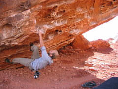 "Rock Climbing Photo: Matt Johnson on the start holds of ""Monkey Pi..."