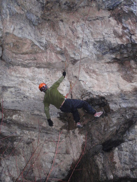 Rock Climbing Photo: Eric in the jug over the first roof, headed up int...