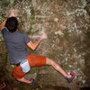 """Aaron James Parlier sticking the first move off of the sit start on the FA of """"Jeepers Creeper"""" (V4/5)"""